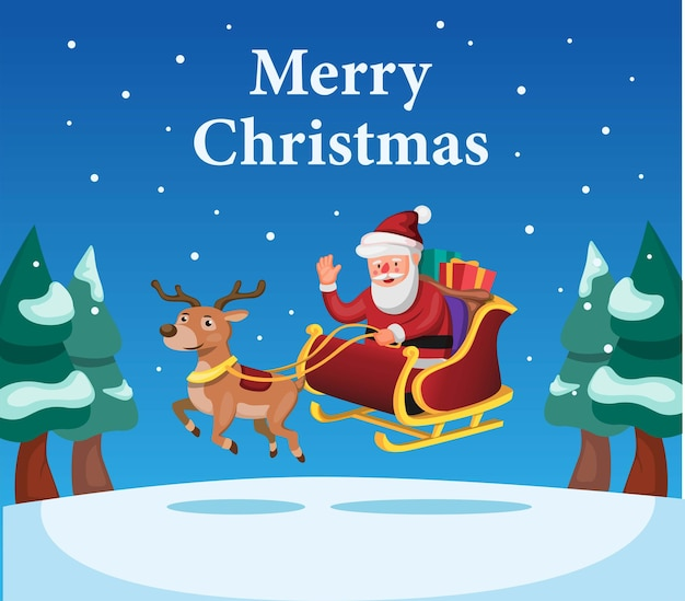 Merry christmas and happy new year season with santa and reindeer with gift box cartoon vector