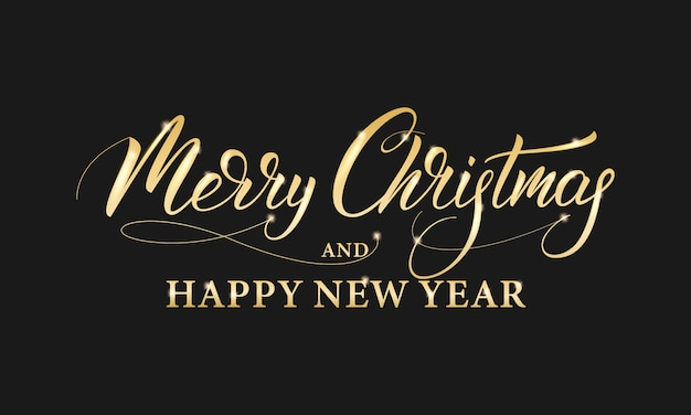Merry christmas and happy new year. shiny gold lettering calligraphy