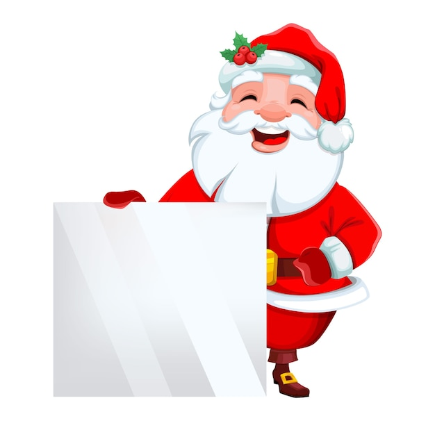 Merry christmas and happy new year smiling santa