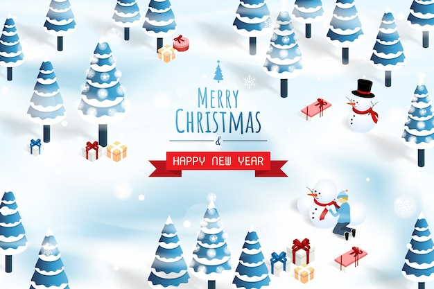 Merry christmas and happy new year snow forest background