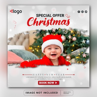 Merry christmas  happy new year social media banner design template or square flyer instagram post