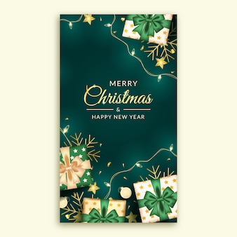 Merry christmas and happy new year social media story with realistic green decoration