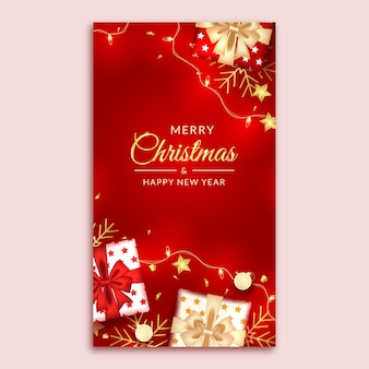 Merry christmas and happy new year social media story with realistic red decoration