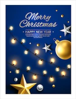 メリークリスマス新年あけましておめでとうございます星と輝く花輪 Premiumベクター