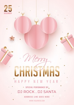 Merry christmas and happy new year template or flyer  decorated with hanging paper cut baubles, gift box and venue details.