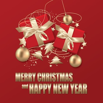 Merry christmas &happy new year template illustration