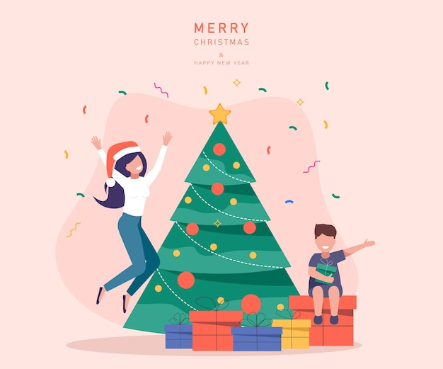 Merry christmas and happy new year templates. people christmas