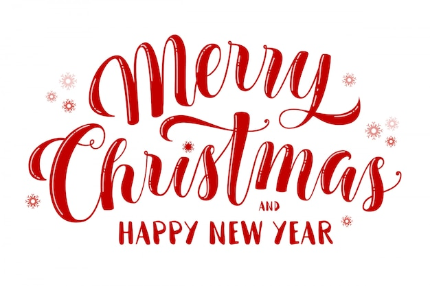 Merry christmas and happy new year text, beautiful lettering for greeting card