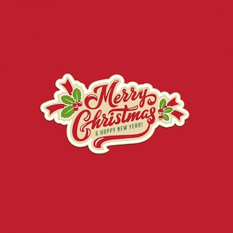 Merry christmas and happy new year text calligraphic lettering greeting card