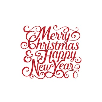Buon natale e felice anno nuovo testo calligrafico lettering.