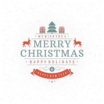 Merry christmas and happy new year text greeting card