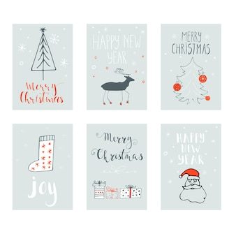 Merry christmas happy new year  text label on a winter background with snow and snowflakes