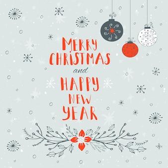 С рождеством христовым, с новым годом текст на зимнем фоне со снегом и снежинками. шаблон поздравительной открытки, плакат с цитатой. дизайн футболки, дизайн карты или элемент домашнего декора. типография вектор