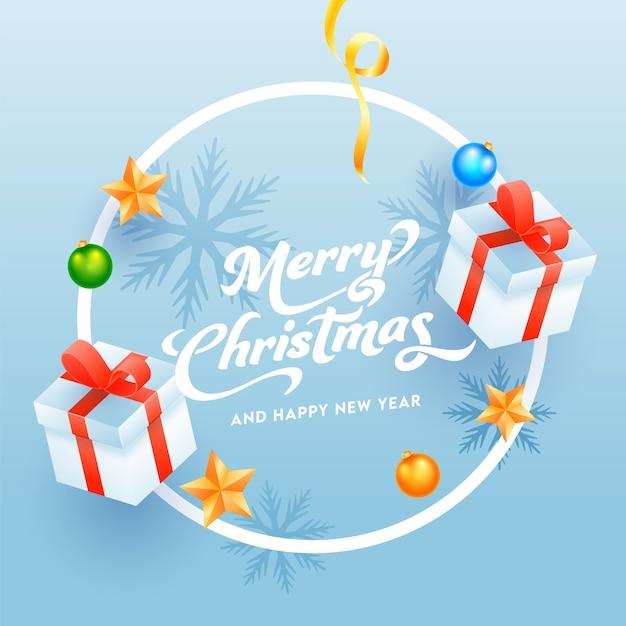 光沢のある青い背景に飾られたメリークリスマス&新年あけましておめでとうございますのテキスト