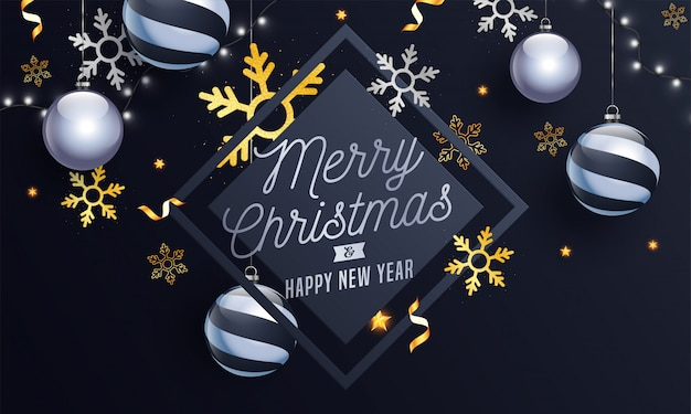 Merry christmas & happy new year text with hanging baubles, snowflakes and lighting garland decorated on grey .