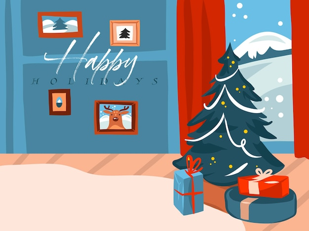 Merry christmas and happy new year time cartoon illustration