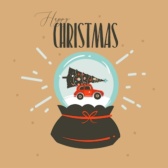 Merry christmas and happy new year time greeting with snow glass globe and car isolated