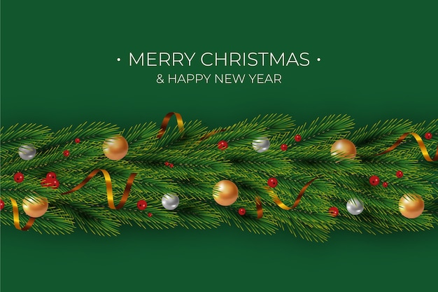 Merry christmas and happy new year tinsel background