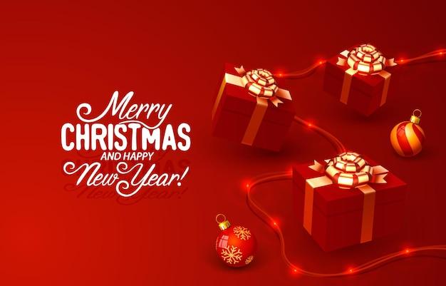おもちゃカードバナーベクトルとメリークリスマス新年のツリー