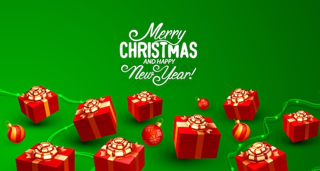 Merry christmas happy new year tree with toys card banner vector