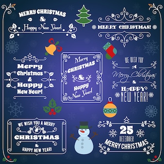 Merry christmas and happy new year typographic greetings set