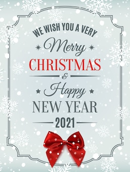 Merry christmas and happy new year typographic text on winter background with red bow, snow and snowflakes.
