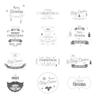 Merry christmas and happy new year typography collection.