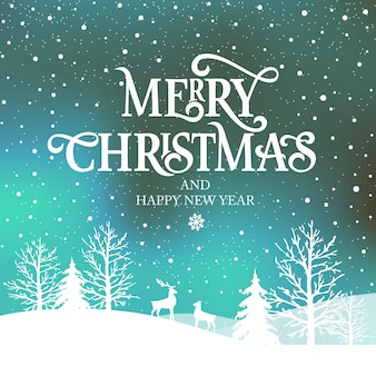 Merry christmas and happy new year  typography   design for greeting cards and poster.