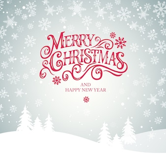 Merry christmas and happy new year  typography   design