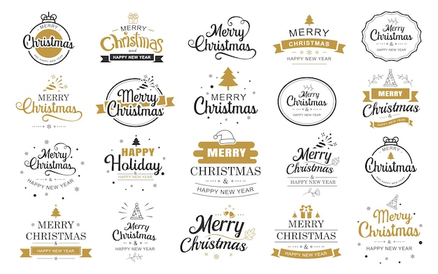 Merry christmas and happy new year typography label with symbols design set.