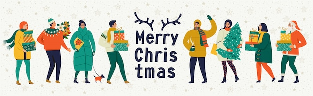 Merry christmas and happy new year vector greeting card with winter games and people.