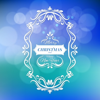 Merry christmas and happy new year vector illustration isolated on blue blurred background