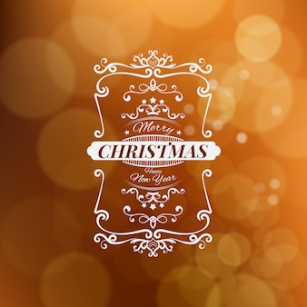 Merry christmas and happy new year vector illustration isolated on brown blurred background