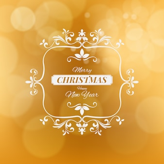 Merry christmas and happy new year vector illustration isolated on golden blurred background