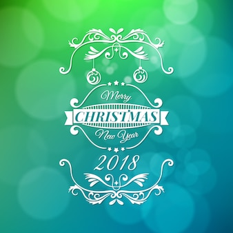 Merry christmas and happy new year vector illustration isolated on green and blue blurred background