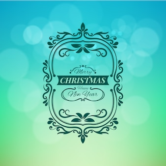 Merry christmas and happy new year vector illustration isolated on green blurred background
