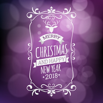 Merry christmas and happy new year vector illustration isolated on purple blurred background