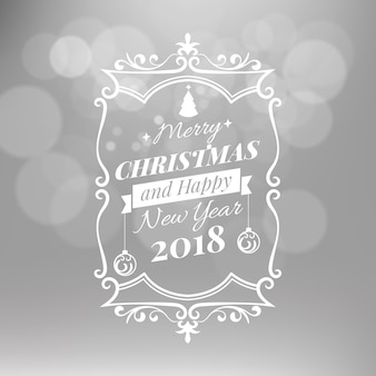 Merry christmas and happy new year vector illustration isolated on silver blurred background