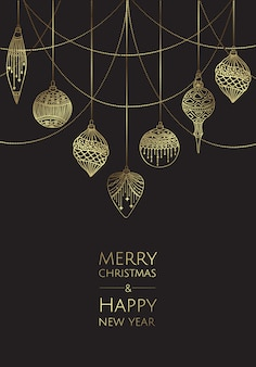 Merry christmas and happy new year. vector modern template card. abstract christmas balls.