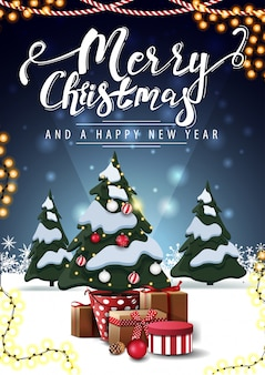 Merry christmas and happy new year, vertical blue postcard with christmas tree in a pot with gifts