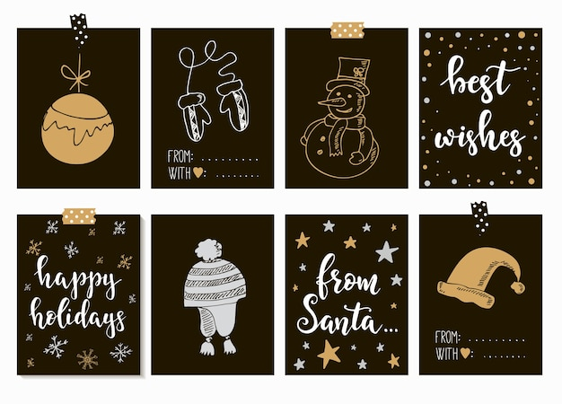 Merry christmas and happy new year vintage cards with calligraphy. handwritten lettering. hand drawn design elements. printable items