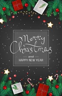 С рождеством христовым с новым годом веб-баннер украшение с еловыми ветками, подарками, гирляндой, шарами, подарком