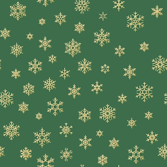 Merry christmas and happy new year winter golden snowflakes seamless pattern.