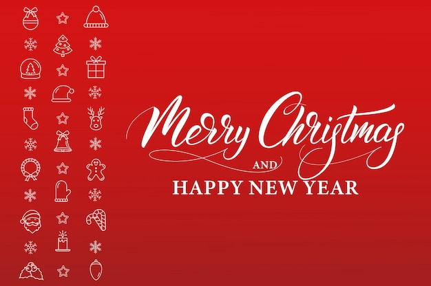 Merry christmas and happy new year. winter holiday banner with linear icons decorations and xmas calligraphy