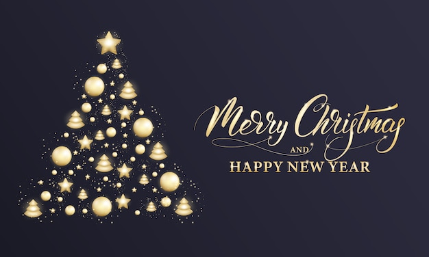 Merry christmas and happy new year. winter holiday banner with shiny gold decorations, xmas and new year calligraphy