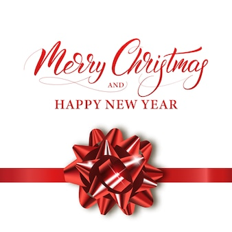 Merry christmas and happy new year. winter holiday banner with shiny red bow and calligraphy