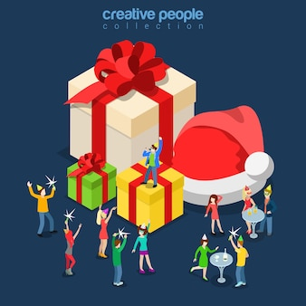 Merry christmas happy new year winter holiday party flat isometry isometric concept web infographics leaflet card postcard template huge santa hat gift boxes micro people sing singer dance