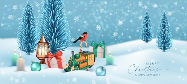 Merry christmas and happy new year winter landscape