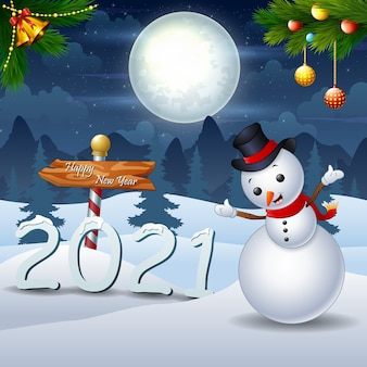Merry christmas and happy new year  in the winter night landscape