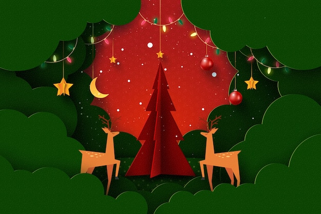 Merry christmas and happy new year winter season landscapedecorated with christmas   tree deers lights and stars paper art